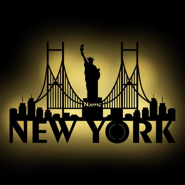 New York Skyline LED beleuchtet Wand Bild