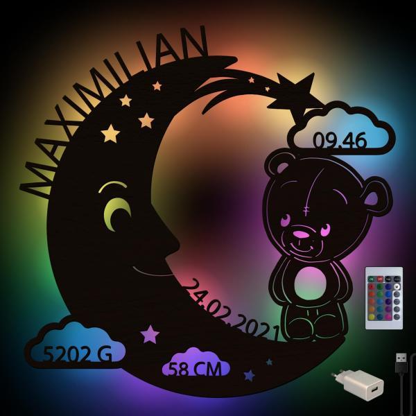Teddy Lampe Baby Nachtlicht Schlummerlicht mit Namen