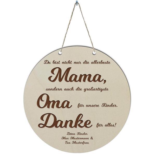 Muttertag Beste Mama Holzschild mit Gravur