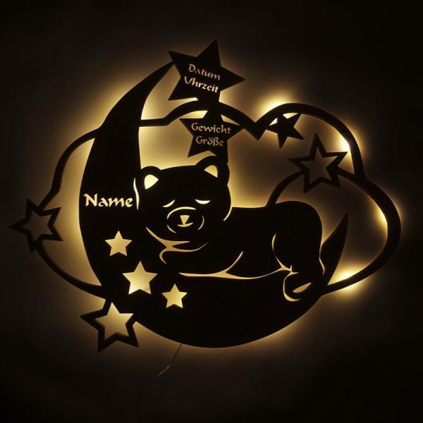 Nachtlicht Teddy auf Mond mit Namen