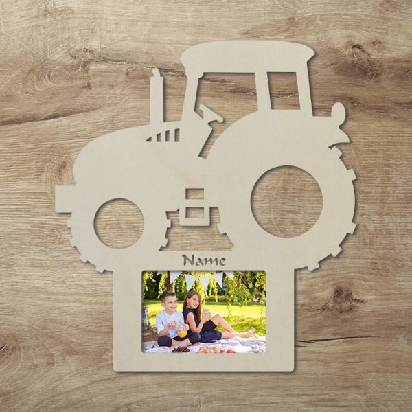 Bilderrahmen für Kinder Traktor Geschenke Geschenkidee Wand Deko Unbehandelt