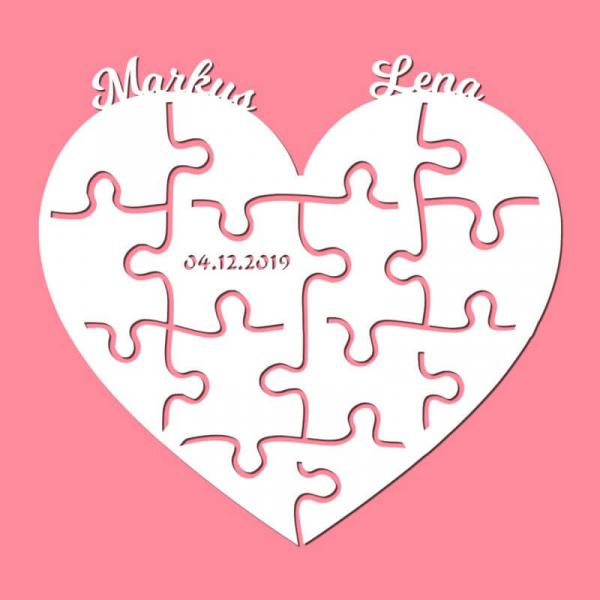 Puzzle Herz mit Namen