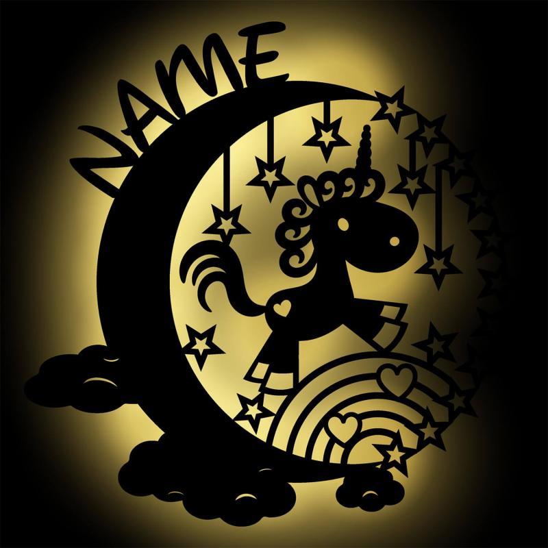 - Mond Einhorn LED Holz Nachtlicht Name - Onlineshop Schlummerlicht24