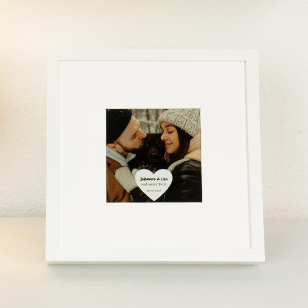 Beleuchteter Bilderrahmen mit Foto und Text für Paare